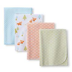 Circo® Woodland 4pk Flannel Receiving Blankets