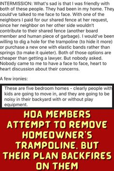 #HOA #Members #Remove #Homeowner's #Trampoline #Plan #Backfires