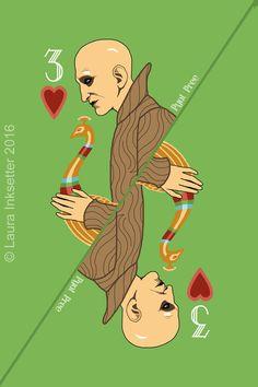 Pyat Pree - 3 of Hearts Game Of Thrones Cards, Got Game Of Thrones, Hbo Tv Series, Movies And Series, Playing Cards Art, Playing Card Games, Valar Dohaeris, Valar Morghulis, Carte Got