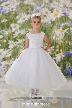The Joan Calabrese Flower Girl Dress Collection is known for exquisite fabric and detail - a pristine line remaining classic with a current fashion edge. Girls First Communion Dresses, Girls Pageant Dresses, Dresses Kids Girl, Girls Party Dress, Party Dresses, Tulle Ball Gown, Ball Gown Dresses, Flower Girl Tutu, Flower Girl Dresses