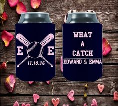 Wedding Can Coolies  What a Catch  Customized by moonbeamsnpie