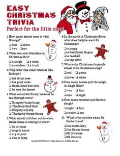 Printable Christmas Games for Holiday Party Fun! Christmas party games are fun for kids and adults. Games include Christmas trivia, bingo, charades and gift exchanges. These printable holiday games are fun and easy to print right from your computer. Christmas Trivia For Kids, Printable Christmas Games, Christmas Activities, Simple Christmas, Family Christmas, Christmas Traditions, Winter Christmas, Christmas Holidays, Christmas Decorations