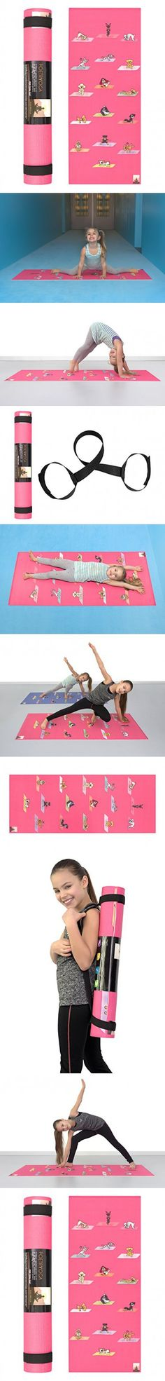 POETRYOGA - Kids Yoga Mat - with Carry Strap - 60x24 Inches 4mm - PER - Eco-Friendly SGS Approved Non-Toxic No Phthalates or Latex - Durable - Multi Purpose - Yoga Dogs Poses (Magenta)