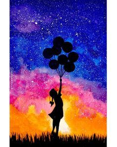 Ideas for beautiful art drawings inspiration watercolour Watercolor Sky, Watercolor Paintings, Oil Pastel Art, Silhouette Painting, Galaxy Painting, Guache, Beginner Painting, Painting & Drawing, Drawing Drawing