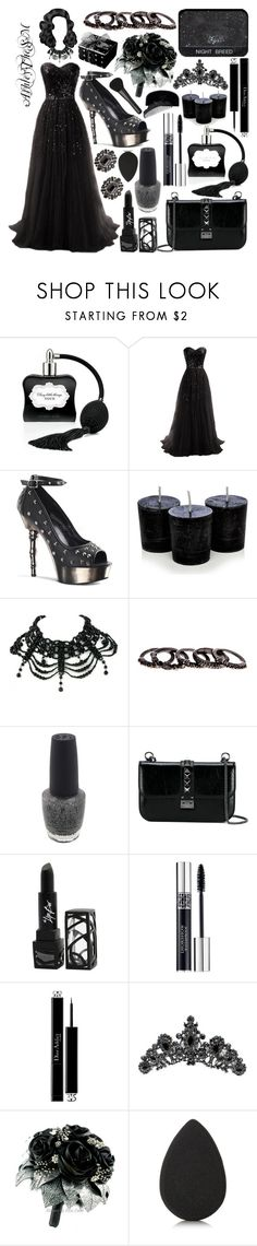 """Dead Prom Queen"" by ashleythesm ❤ liked on Polyvore featuring Victoria's Secret, Demonia, Chandelier, Free Press, OPI, NARS Cosmetics, Valentino, The Lip Bar, Christian Dior and CO"