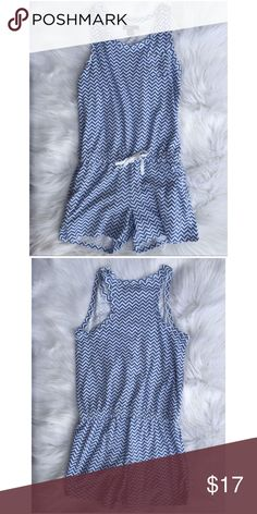 {Gap} Blue & White Chevron Zig Zag Romper size 10 Gap Blue & White Chevron Zig Zag Romper size 10. 032417c GAP Bottoms Jumpsuits & Rompers