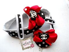 Polka dots Red bow CC baby girl crib shoes, baby shoes ,Ready to ship