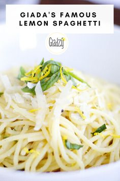 One of the easiest pasta dishes you'll ever make, this is great as a light meal or as a side dish, especially for grilled fish. This lemon pasta is the seller at my restaurant, GIADA, in Las Vegas! Giada Recipes, Lemon Recipes, Chef Recipes, Food Network Recipes, Italian Recipes, Vegetarian Recipes, Dinner Recipes, Cooking Recipes, Healthy Recipes