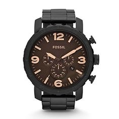Fossil Nate JR1356 Brown Dial Watch, Men's, Size: 50mm, Black