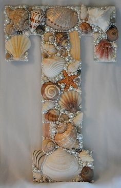 "Seashell Letters available in all letters. $35.00 13"" Tall x 8.5"" Wide"