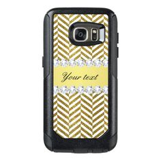 Personalized Faux Gold Foil Chevron Bling Diamonds OtterBox Samsung Galaxy S7 Case