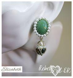 Green aventurine earrings, green stone drop earrings, gemstone beaded green earrings, white pearl embroidery earrings, elizabeth earrings