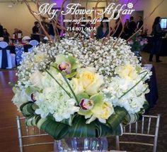rustic yet modern flowers from My Flower Affair.  reception wedding flowers,  wedding decor, wedding flower centerpiece, wedding flower arrangement... www.myfloweraffair.com can create this beautiful wedding flower look.