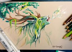 Wild Animal Spirits in pencil and marker illustrations by Katy Lipscomb.