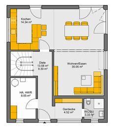 Fertighaus Camaro Grundriss EG Sims House, Architecture Plan, Plan Design, Future House, Building A House, House Plans, New Homes, Floor Plans, House Design