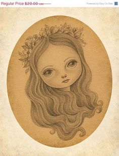 ON SALE Signed Print of Original Pencil Drawing, Nymph Fairy Illustration, Fairy Tale Art, Antique Vintage Style - Narcissa by Amalia K