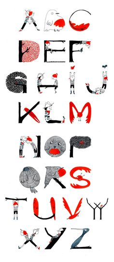 Illustrated alphabet by Alexandra Huard. Really like the colours and the style of this lettering work. Love it.