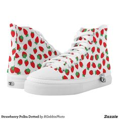 Strawberry Polka Dotted Printed Shoes $112.45 You'll be kickin with these! Very cute illustrated strawberries arranged in a random pattern create a beautiful fruit inspired wallpaper. Fresh, plump and red, they look delicious! See our line of Fruit products in our store!