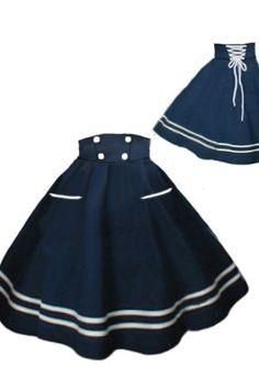 50s Rockabilly Sailor Swing Skirt