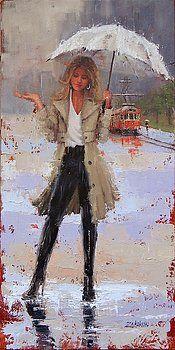 Rain Painting - Still Raining by Laura Lee Zanghetti Rain Painting, Painting & Drawing, Silk Painting, Rain Art, Umbrella Art, Walking In The Rain, Laura Lee, Portrait Art, Beautiful Paintings