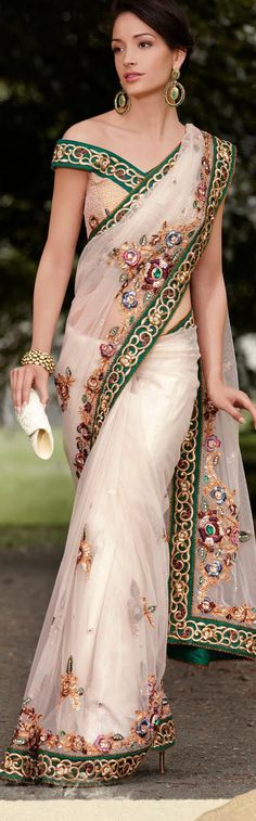 $188.58 Ivory Net Latest Fashion Saree 16766 With Unstitched Blouse