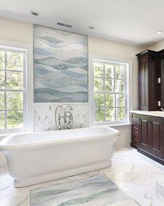 Bathroom Tub Tile Designs Design, Pictures, Remodel, Decor and Ideas - page 11 Mosaic Tile Designs, Mosaic Tiles, Mosaic Art, Tile Art, Stone Mosaic, Mosaic Backsplash, Blue Mosaic, Tile Murals, Cortina Box