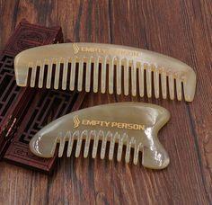 EMPTY PERSON Nature Sheep Horn Wide Comb + Horn Head Comb Massager Guasha tool  #emptyperson