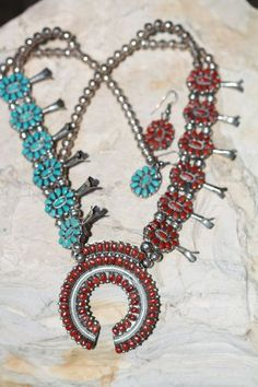 Sterling Silver 2 Side Turquoise Red Coral Squash Blossom Necklace Earrings | eBay