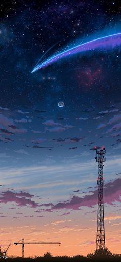 wallpaper sky Starfall in the night - wallpaper Anime Scenery Wallpaper, Wallpaper Space, Aesthetic Pastel Wallpaper, Iphone Background Wallpaper, Aesthetic Backgrounds, Cellphone Wallpaper, Aesthetic Wallpapers, Galaxy Wallpaper Iphone, Night Sky Wallpaper