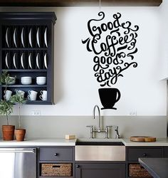 Vinyl Wall Decal Quote Coffee Kitchen Shop Restaurant Cafe Art Stickers (ig3352)