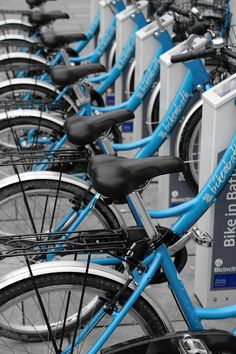 2012 04 04 | 95 by NickWoods, via Flickr | black white blue turquoise + bicycles + selective color