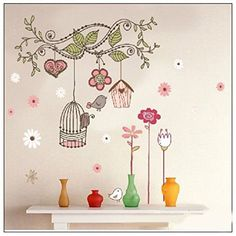 Birdcage Colorful Flower Vine Branches Removable vinyl art wall decals murals home Decal decor wall stickers For Nursery Boys and Girls Room Children's Room awhao http://www.amazon.co.uk/dp/B00MPFS31G/ref=cm_sw_r_pi_dp_FmdIvb09JXS3M