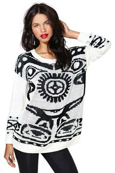 MinkPink Personality Crisis Sweater | Nasty Gal ... Cool sweater, though not sure I'd actually buy or want to wear it