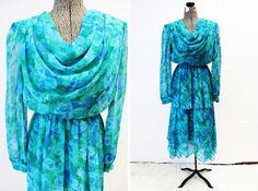 Plus Size - Vintage Turquoise Floral Chiffon Drape Front Dress by TheCurvyElle, $45.00