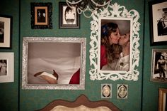 Awesome wallpaper and contrasting frames. Got Married, Getting Married, Vows, Photo Booth, Wedding Decorations, Frames, Wallpaper, Awesome, Inspiration