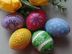 Set of 5 Easter Eggs, Hand Decorated Chicken Eggs, Traditional Polish Pysanky, Easter Eggs. $69.90, via Etsy.