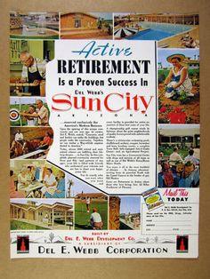 1960 Sun City Arizona Del Webb AZ Retirement Community 12 Photo Vintage Print Ad | eBay Sun City Arizona, Sun City Az, Print Advertising, Print Ads, Way Of Life, Real Life, Old Advertisements, Retirement, Community