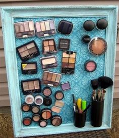 DIY Womens Clothing : Magnetic make up board. If only I wore more makeup and mirrors were magnetic