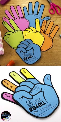 This 5 finger retell activity is a fun reading craft for practicing sequencing and summarizing fiction books in your classroom. It works well for a guided reading or whole class lesson, a reading center, a classroom bulletin board or wall display. Fiction summarizing activities | fiction retelling activities | retelling hand | teaching retelling strategies for kids | retell graphic organizer | retelling glove | retell worksheet | retell vs summarizing | retelling fiction strategies