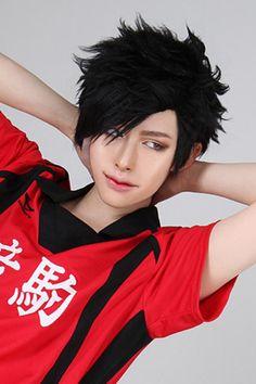 30cm Short Black Haikyuu Kuroo Tetsurou Cosplay Wig zy167 - L ...