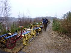 .....a large colourful collection of railway handcars – it seems you can hire them during the summer months...... hiking in finland, an outdoors blog Countries Around The World, Around The Worlds, Outdoor Furniture Sets, Outdoor Decor, Summer Months, Trekking, Finland, Things To Do, Hiking