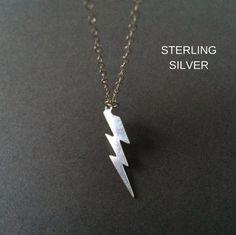 Lightning Bolt Necklace Silver Lightning  by Instyleglamour