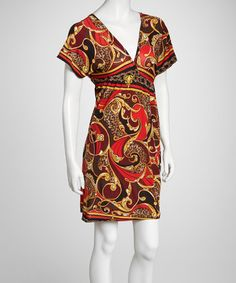 Take a look at this Red & Yellow Status Cape-Sleeve Dress by Life and Style Fashions on #zulily today!