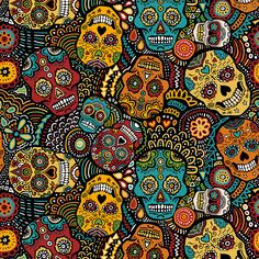 Sugar Skulls Fabric - Mexican Sugar Skulls By Lusykoror - Festive Sugar Skulls Home Decor Cotton Fabric By The Yard With Spoonflower