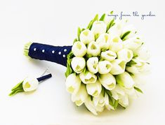 Real Touch Tulips Bridal Bouquet White Navy by SongsFromTheGarden