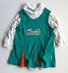 Miami Dolphins Baby Dress Cheerleader 12M Turtleneck Jumper Bodysuit NFL  #MightyMacSports #MiamiDolphins