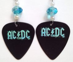 1 Pair AC/DC Guitar Pick Earrings by AuntShellDesigns on Etsy