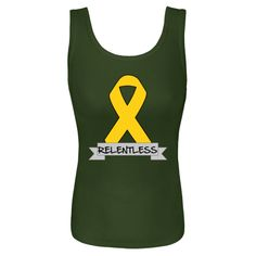 Childhood Cancer Relentless Women's Tank Tops featuring an awareness ribbon and a banner with an empowering slogan for advoacy $23.99 www.store.hopedreamsdesigns.com