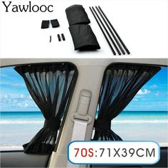 Yawlooc 2 x Update 70S 71*39cm Car Styling Adjustable Vehicles Elastic Auto Car Side Window Sunshade Curtain - Black/Beige/Gray