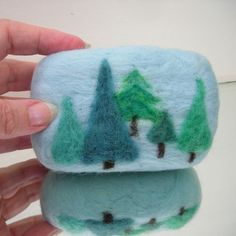 Items similar to Organic Felted Soap Blue Forest Peppermint Soap with Merino Wool on Etsy Wool Needle Felting, Needle Felting Tutorials, Wet Felting, Christmas Soap, Felt Christmas, Peppermint Soap, Soap On A Rope, Soap Packaging, Soap Recipes
